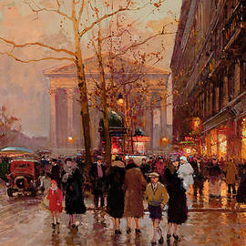 Edouard Henri Leon Cortes - The Madeleine and the Rue Royale