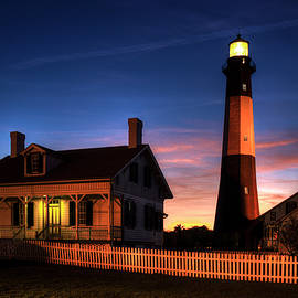 The Night Advances Tybee Island Lighthouse Architectural Seascape Art by Reid Callaway