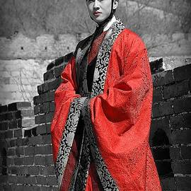 The Red Robe In Selective Color by Toni Abdnour