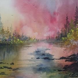 David K Myers - The River Shallows, Original Watercolor