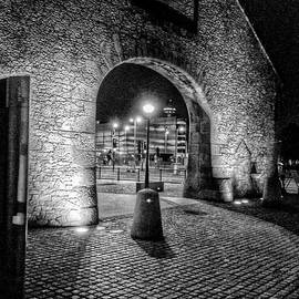 Joan-Violet Stretch - The Salthouse Gateway at Night in Monochrome