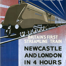 R Muirhead Art - The Silver Jubilee Britains First Streamline Train LNER poster 1935