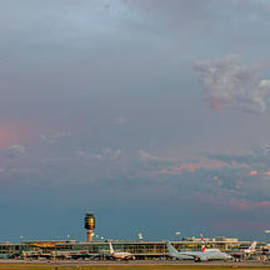 Pink sky over the airport