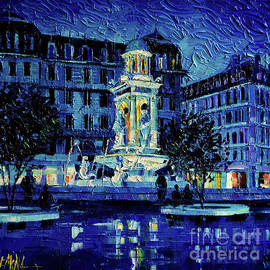 Mona Edulesco - THE SQUARE OF JACOBINS ILLUMINATED - Lyon France - modern impressionist palette knife painting