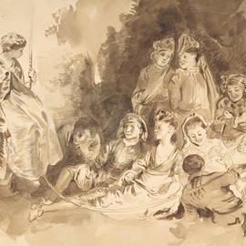 The Swing, after Antoine Watteau  - Eugene Delacroix