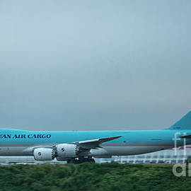 The Takeoff Korean Air Cargo 747 Airplane Art by Reid Callaway