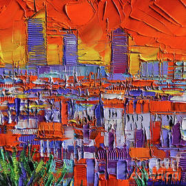 Mona Edulesco - THE THREE TOWERS - LYON ORANGE VIEW by Mona Edulesco