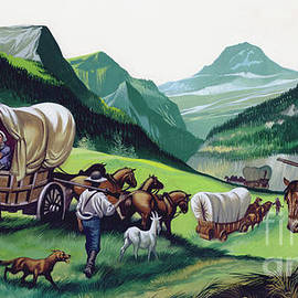 The wagons followed the National Road to the West  - Ron Embleton
