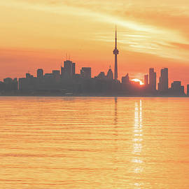 The Wait is Over - Split Sunrise Behind Toronto Skyline by Georgia Mizuleva