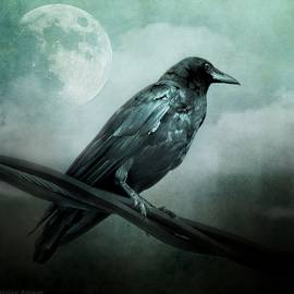 Melissa Bittinger - The Watcher Surreal Raven Crow Moon and Clouds