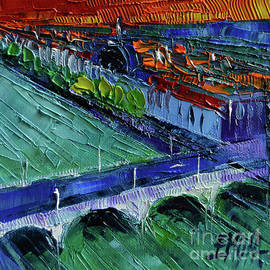 THE WILSON BRIDGE - modern impressionist stylized cityscape - Mona Edulesco