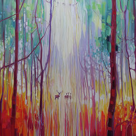 Gill Bustamante - They Know - a semi abstract forest landscape with deer