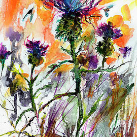 Thistles And Bees Watercolor And Ink by Ginette Callaway