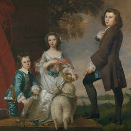 Thomas And Martha Neate With His Tutor, Thomas Needham by Joshua Reynolds