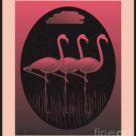 Three flamingos by Michael Mirijan
