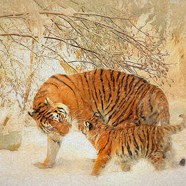 Tiger Family in a Blizzard - Painting by Ericamaxine Price