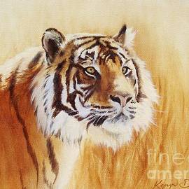 Tiger in grass by Keryn Bloxham