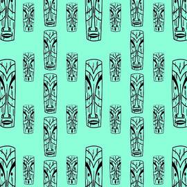Tikis On Aqua by Donna Mibus