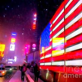 Ed Weidman - Times Square Flag In Snowstorm