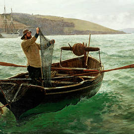 Charles Napier Hemy RA - Tipping Out a Shrimp Trawl