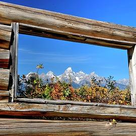 Today's Tetons Through Yesterdays Window by Michael Morse