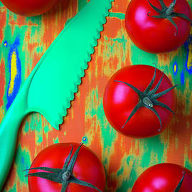 Tomatoes And Green Knife by Garry Gay