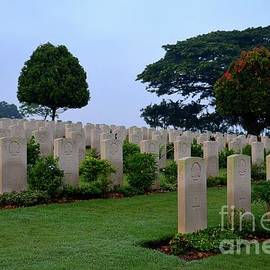 Imran Ahmed - Tombstones of soldiers at Kranji Commonwealth War Cemetery graveyard Singapore