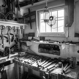 Tools in the Shop Black and White by Debra and Dave Vanderlaan