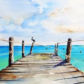 Top Of Old Pier On Playa Paraiso by Carlin Blahnik CarlinArtWatercolor