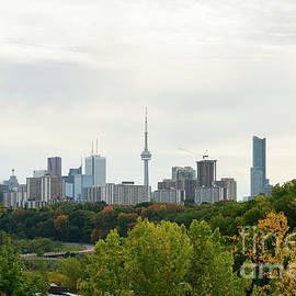 Toronto Skyline In Fall  by Les Palenik