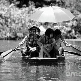 Chuck Kuhn - Tourist Boating thru Tam Coc bW