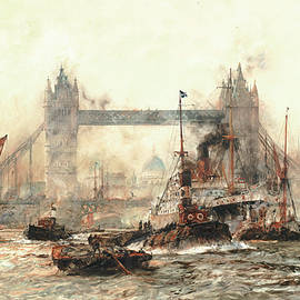 Charles Edward Dixon - Tower Bridge from the Lower Pool