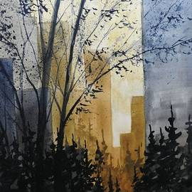 David K Myers - Town Park Path Watercolor