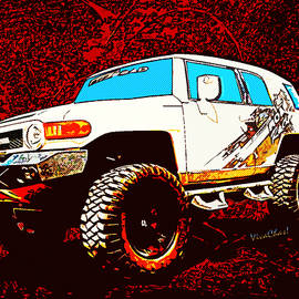 Toyota FJ Cruiser 4x4 Cartoon Panel from VivaChas by Chas Sinklier