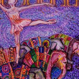 Susan Brown    Slizys art signature name - Endangered ballerina and baby elephants