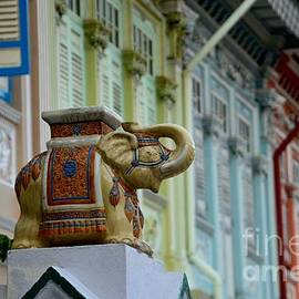 Imran Ahmed - Traditional Asian decorated elephant guards house gate Singapore