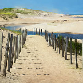 Trail in the Sand Dunes Watercolor Painting by Debra and Dave Vanderlaan