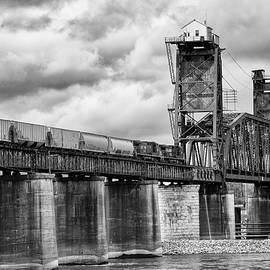 Train Crossing Chickamauga Dam Bridge bw by Jerry Fornarotto