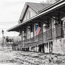 Train Depot Selective Color Flag by Sharon Popek