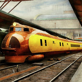 Train - Retro - The streamlined M-10000 1934 by Mike Savad