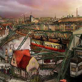 Train Station - Wuppertal Suspension Railway 1913 by Mike Savad