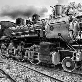 Paul Ward - Train - Steam Engine Locomotive 385 in black and white