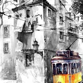 Tram in Lisboa Graca Black and White by Georgi Charaka