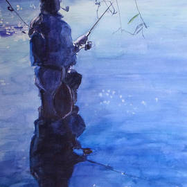 Watercolor Tranquil Fishing by Greta Corens