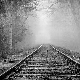 Traveling on the Tracks Black and White by Debra and Dave Vanderlaan