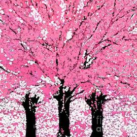 Trees Are Pink Oil Painting by Saundra Myles