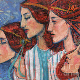 Tribute to Art Nouveau, pastel painting, fine art, redhaired girls by Julia Khoroshikh