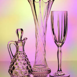 Trio of Cut Glass by Betty Denise