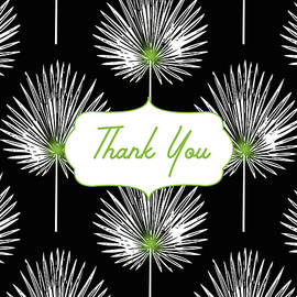 Linda Woods - Tropical Leaf Thank You Black- Art by Linda Woods