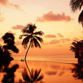Tropical Sunset. Triptych by Jenny Rainbow